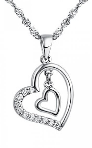 925Silver - Double Heart 2 - Necklace