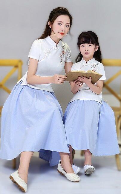 4.5✮- Midi Dress (Top+Skirt, Cheongsam) - FCAE0799
