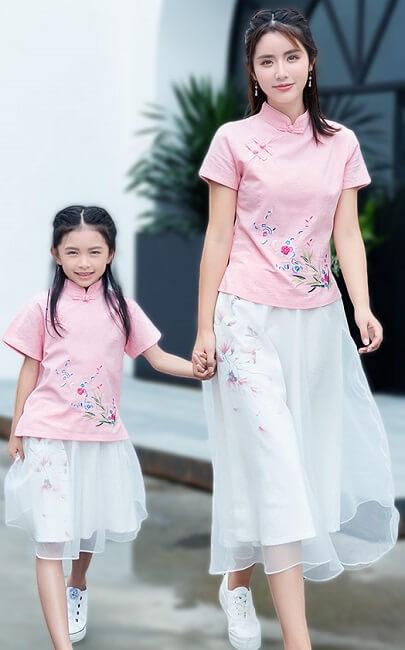 4.5✮- Midi Dress (Top+Skirt, Cheongsam) - FCAE1052