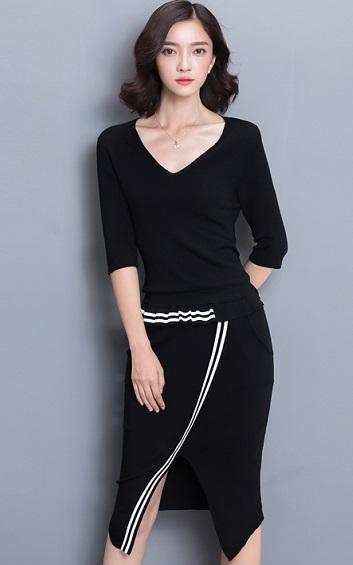 4✮- Bodycon Knee Dress - AEFT90058