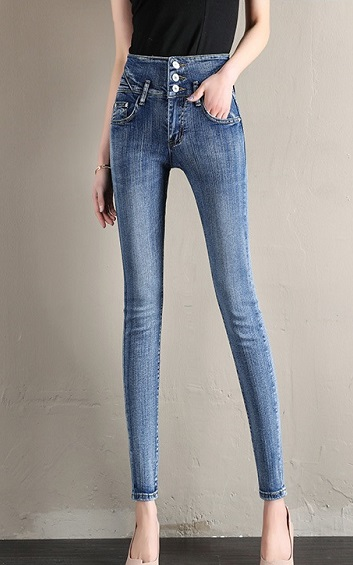 4✮- Elastic Denim Pants - DDFM10045