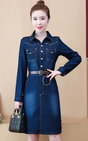 4✮- Denim Knee Dress - FLFM28101
