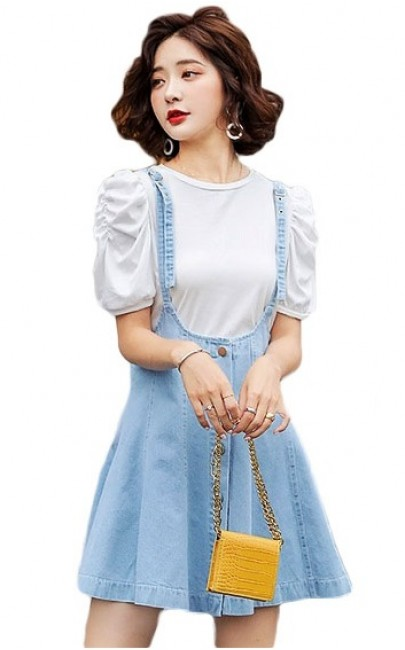 4✮- Denim Dress (Pinafore+Top) - IAFS16103