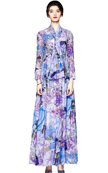 4✮- Maxi Dress (With Scarf) - INFS26251