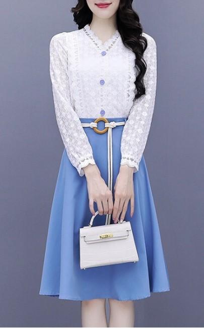 4✮- Knee Dress (Top+Skirt) - IXFS39396