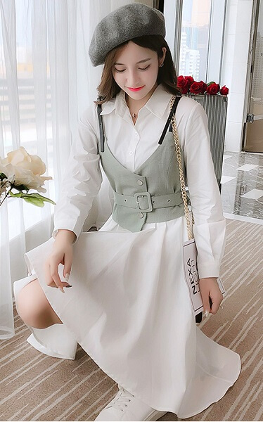 4✮- Knee Dress (With Vest) - IZFS41578