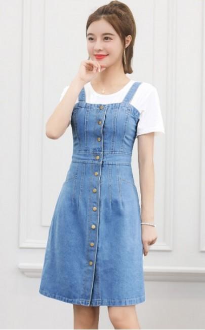 4✮- Denim Dress (Denim Pinafore+Top) - JDFS45599