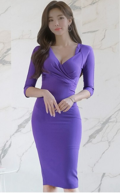 4✮- Bodycon Knee Dress - JFFS47589