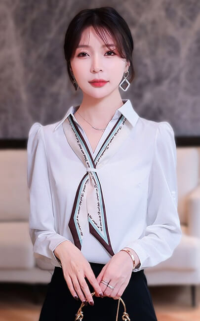 4✮- Casual Shirt (With Scarf) - JKFS54834