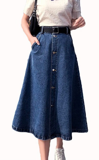 4✮- Denim Knee Skirt - JNFS56964