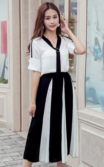 4✮- Knee Dress (Top+Skirt) - ZSFT86078