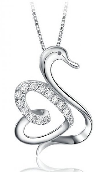 Silver - Swan Necklace - YJJ027