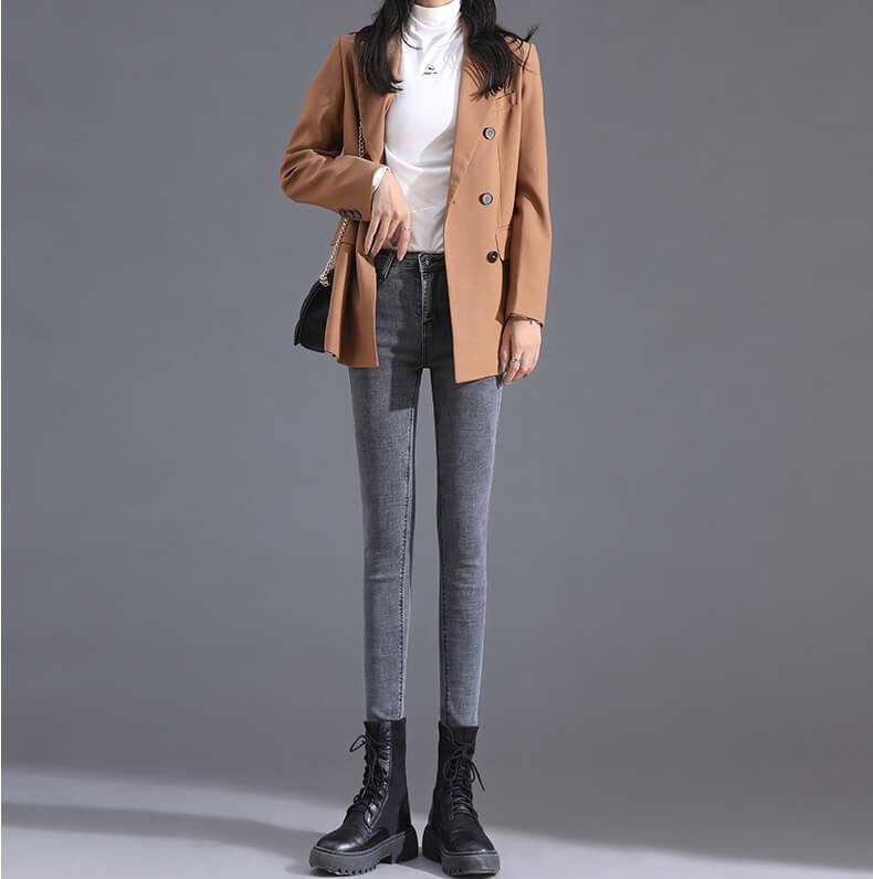 4✮- Elastic Denim Pants - IVFS36888