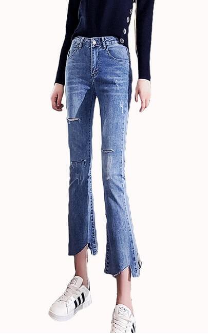 4✮- Elastic Denim Pants - JNFS59356