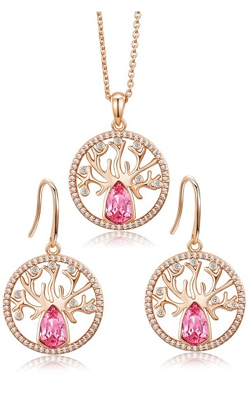 Crystal - Life Tree Necklace and Earring - CDJC00183